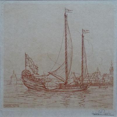 Anton Pieck Veere ets uit 1916, inkt: sanguine, potlood gesigneerd. Afm. etsplaat 19 x 19,5cm. Prijs € 375,-