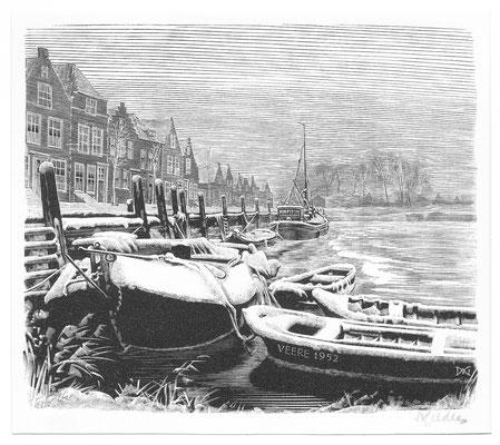 Dirk van Gelder Veere, houtgravure 'winter'. Gesigneerd. Afmeting 10 x 11cm.