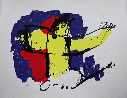 Herman Brood, zeefdruk. 'Brasil God'. Handgesigneerd. Afm. 40 x 50cm.