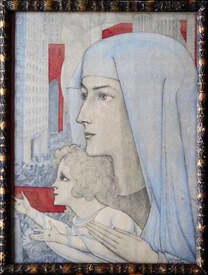 Jan Toorop, Maria met Kind. Kleuren litho uit 1927 met stempel ! Originele lijst. Afm. 29 x 21cm. Prijs € 145,-