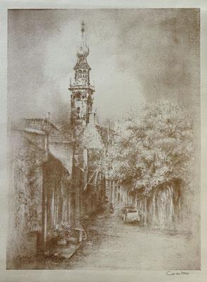 Gelimiteerde druk. 'Veere in verval' door Co de Voogd. Stadhuis gezien vanaf de markt. Afmeting 40 x 30 cm. Prijs € 35,-