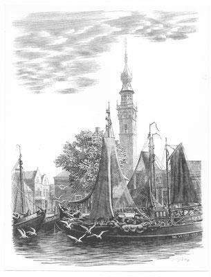 Dirk van Gelder Veere, houtgravure 'kade met boten en stadhuis'. Gesigneerd. Afmeting 17 x 13cm