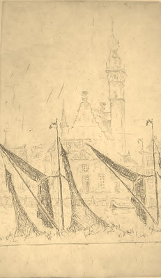 Ets. A. Erkelens. Kade met stadhuis. 16 x 10cm. Prijs incl. de etsplaat € 175,-