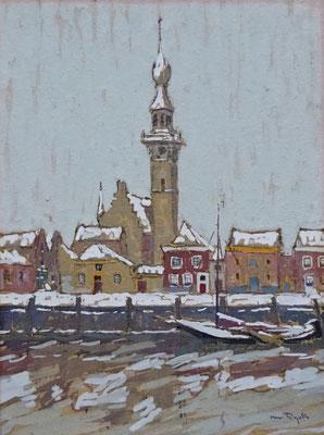 A.J. (Alfons) van Dijck, gouache op schilderskarton. 'onder den stadhuistoren te Veere in den winter'. Afm. 20,5 x 15,5cm.