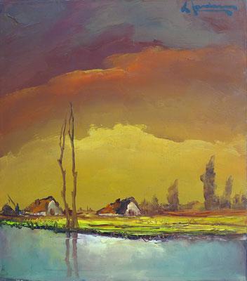 Leonard Jordaens. Huisjes aan het water. Gesigneerd rechts boven. Olieverf op hardboard afm. 43,5 x 38,5cm. Prijs € 400,-