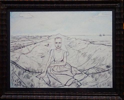 Jan Toorop, Zeeuws meisje in duinen van Domburg. Maat afbeelding: 18 x 24cm. Prijs € 35,- Kopie uit de jaren '50.
