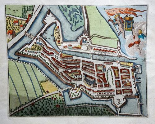 Kopergravure 'De Stad Vere' 1783. Afmeting: 27cm hoog x 34cm br. (niet te koop).