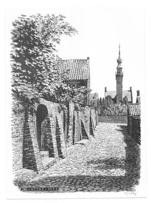 Dirk van Gelder Veere, houtgravure 'Simon Oomstraatje'. Gesigneerd. Afmeting 13 x 9,5cm.