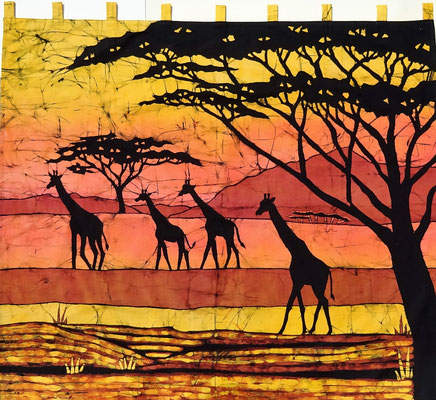 Batik wall hanging.  Four giraffes extra large size! H 129 x W 151 cm. € 250,- (size without loop).