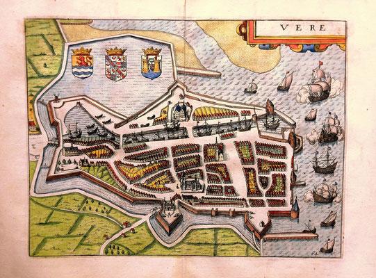 Kopergravure Veere ( Vere ) in de Gouden Eeuw 1652. Afm. 23cm hoog x 30cm br. Prijs € 295,-