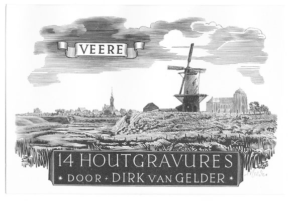 Map, Dirk van Gelder Veere, 14 houtgravures. Eerste houtgravure. Gesigneerd. Afmeting 8,5 x 12,5cm.