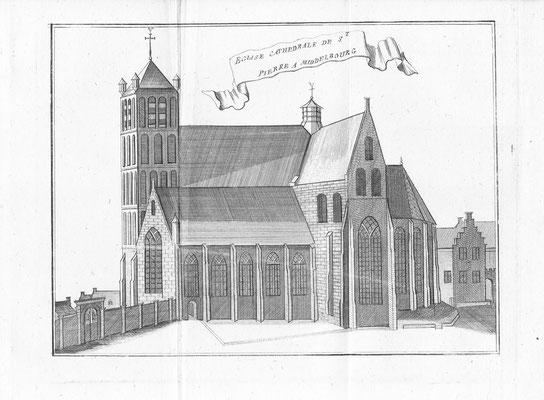 St. Pieterskerk Middelburg. 14 x 19cm. Kopergravure uit 'Les délices des Pais-Bas' uitgegeven door Jean-Baptiste & PetrusFoppens. 1786. € 25,-