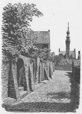 Dirk van Gelder, straatje naar stadhuis Veere, houtgravure. Niet gesigneerd. Afm. 12 x 9cm. Prijs € 95,-