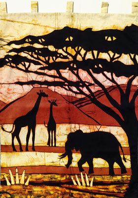 Batik wall hanging.  Elephant with giraffes H 93 x W 70 cm. € 175,- (size without loop). SOLD.