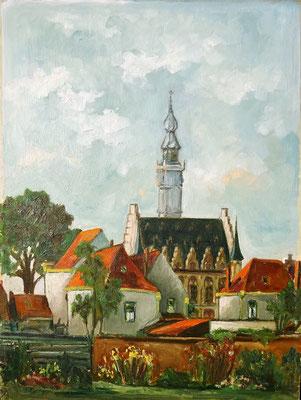 Jager. Kunstschilder, olieverf schilderij. Stadhuis Veere vanaf het Oranjeplein. Prijs € 300,-