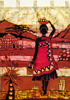 Batik wall hanging.  Swazi woman. H 93 x W 70 cm. € 90,- (size without loop). SOLD.