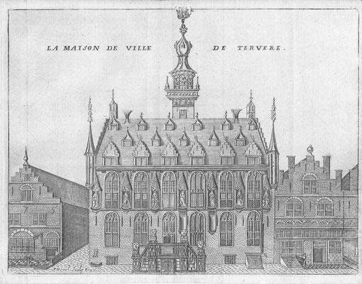 """La maison de ville de tervere 1743. P. Devel Uit: Foppens """"Les delices des Pais-Bas"""" kopergravure 14 x 20 cm. Prijs € 50,-"""
