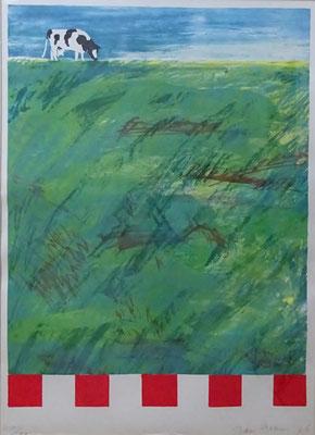 Jan Cremer, zeefdruk uit '76. Handgesigneerd nr. 150 van 190. Afm. 75 x 55cm. Verkocht.