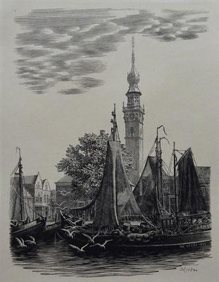 Eén van de gewilde 14 houtgravures door Dirk van Gelder, 'Kade met boten en stadhuis'. Veere.