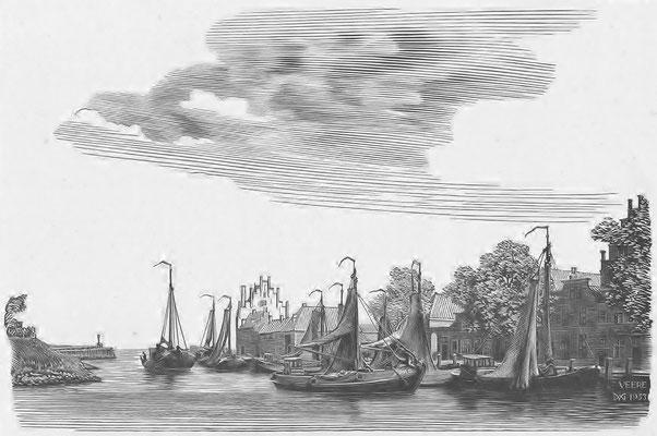 Dirk van Gelder Veere, houtgravure 'haven'. Gesigneerd. Afmeting 10 x 15cm.