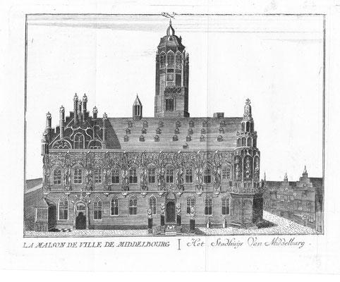 Stadhuis Middelburg. 15 x 19cm. Kopergravure uit 'Les délices des Pais-Bas' uitgegeven door Jean-Baptiste & PetrusFoppens. 1786. € 45,-