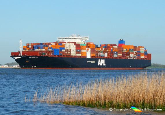 Containerschiff APL MERLION, Elbe 06.05.2015 / BILD 11