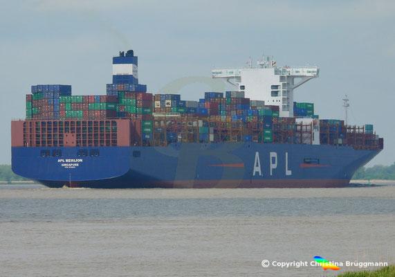 Containerschiff APL MERLION, Elbe 17.05.2019 / BILD 6