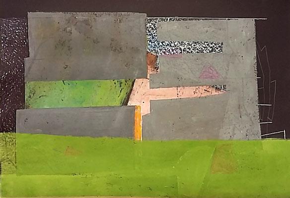 Hier wächst was zu, 50x70, Monotypie, Farbstift, Ölkreide a. Papier, 2020