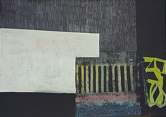 Geheimnisvolle Ecke , 50x70,Monotypie, Silberstift a. Papier, 2020