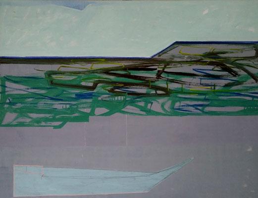Formfindung an der Grönlandsee, 100x130 Acryl,Graphitstift, Ölkreide a LW 2019