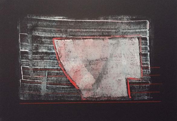Wrack, 42x60 , Monotypie a. Papier,2019