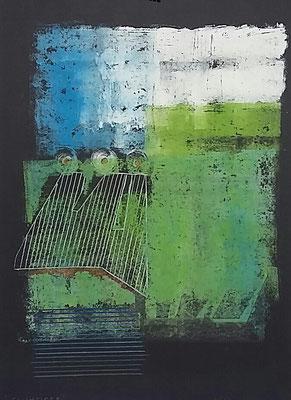 Tauchtiefe, 70x50, Monotypie, Ölkreide a. Papier, 2020
