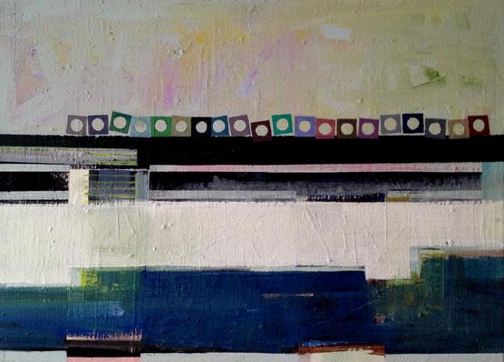 Ausflug eines Farbkastens an den Kanal,70x90, Öl, Acryl,Tusche a. Leinwand,2016