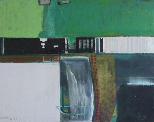 Wasserschleuse Bobzin,100x140,Acryl,Tusche,Graphitstift a. Leinwand,2012
