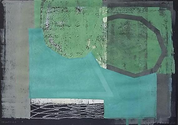 Einstieg, 50x70, Monotypie, Ölkreide a. Papier, 2020