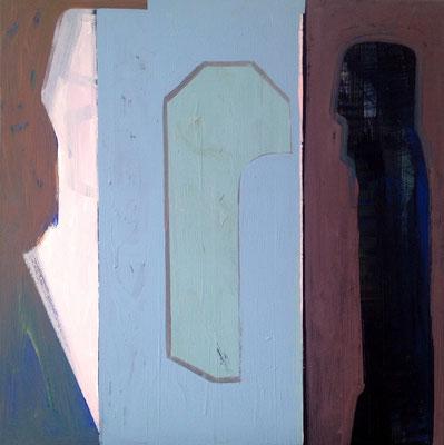 Drei Schatten,  70x70 Acryl Tusche a Leinwand 2018