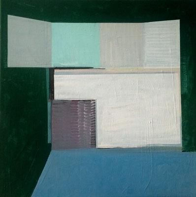 Offenes Buch , 70x70, Acryl, Farbstift a. Leinwand, 2019