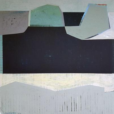 Tide, 120x120, Acryl, Farbstift auf Leinwand, 2020