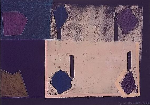 Tauchplätzchen wechs`le dich, 50x70, Monotypie, Ölkreide, Farbstift a. Papier, 2020