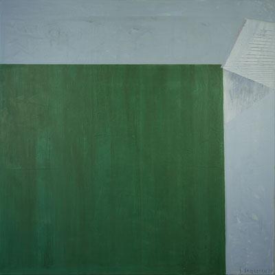 Immergrüne Hütte, 120x120,Acryl auf Leinwand, 2020