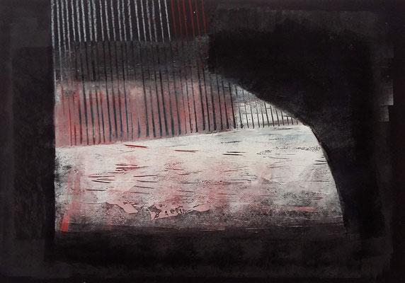 tauchen, 42x60 Monotypie, Ölkreide a. Papier ,2019