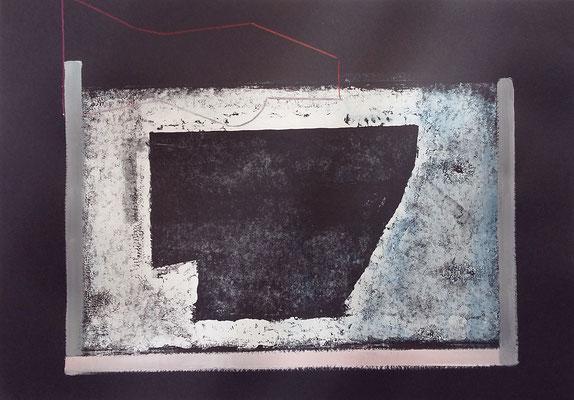 Hohlraum, 42x60,Monotypie, Farbstift a. Leinwand, 2019