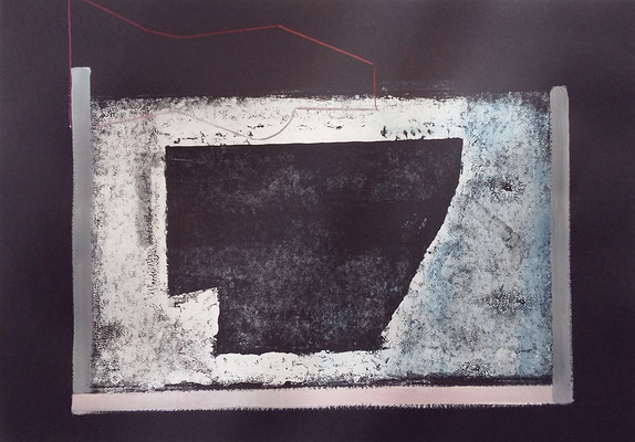 Hohlraum, 42x60,Monotypie, Farbstift a. Papier, 2019