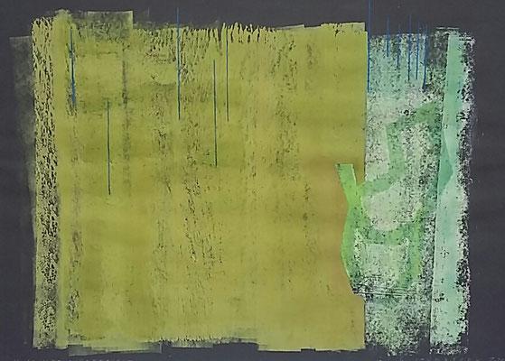 Im Schilf aufgetaucht, Monotypie, Farbstift a. Papier, 2020