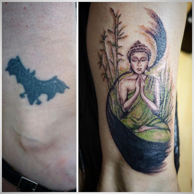 #Cover-up Tattoo #Buddha and Bamboo