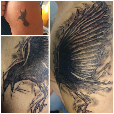 #Cover-up Tattoo #Crow