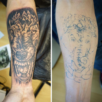 #Cover-up Tattoo #Wolfe and Mountains