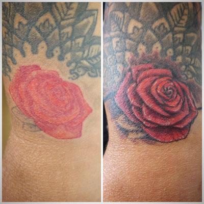 #Cover-up Tattoo #embellished Rose