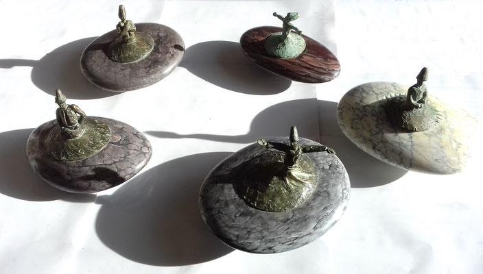 Sufis Toupies - 2018 - h 25cm - Bronzes & Marbres - Oeuvre de Sylvianne Selma