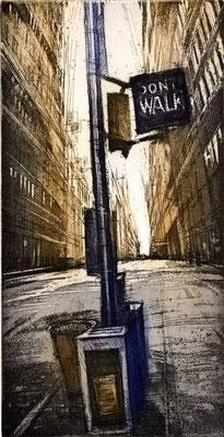 DONT WALK, 1995, Radierung auf Bütten, 14,5 x 25 cm